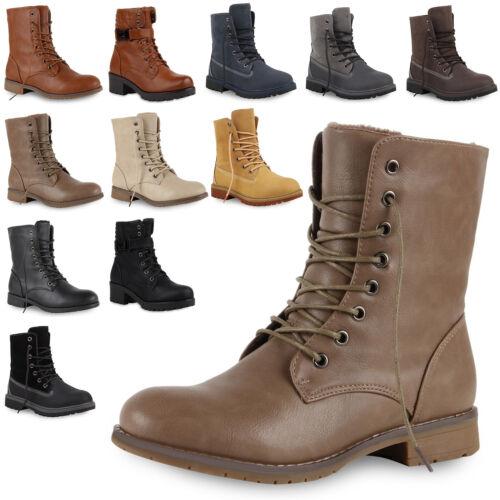 Damen Stiefeletten Worker Boots Outdoor Schuhe Schnürboots Profilsohle 73257 Top