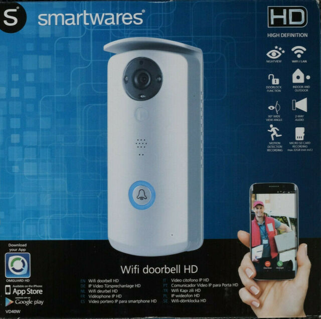 Smartwares WiFi Videosprechanlage mit HD-Kamera, Übertragung auf Smartphone