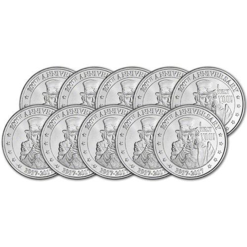Uncle Sam Design .999+ Fine Highland Mint Silver Round 10 1 oz TEN