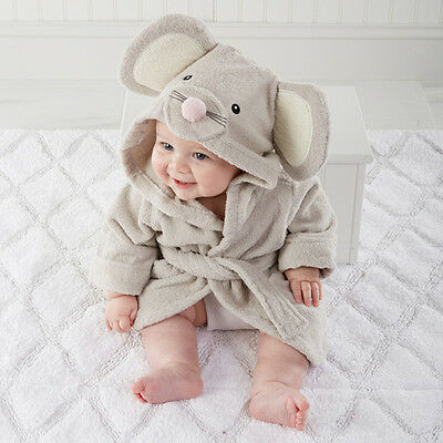 Newborn Cartoon Sleepwear Cute Baby Hooded Flannel Nightgown Mouse 0-12Months