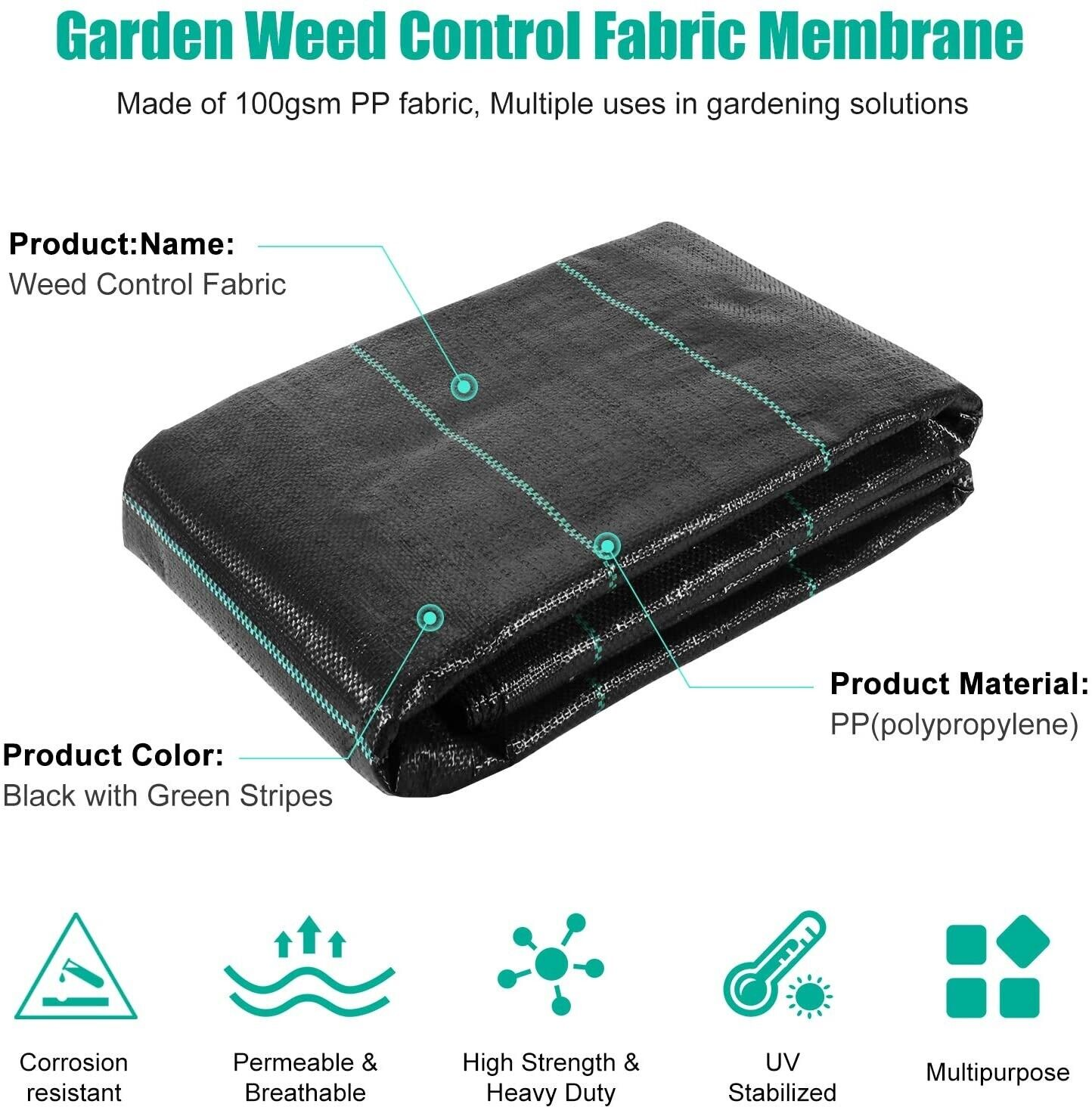 Garden Landscape Fabric Membrane Weed Control Killer Guard Cover Sheet Protect