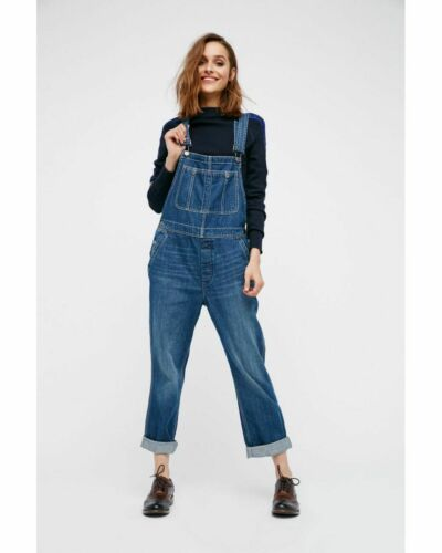 New Free People Boyfriend Dungaree Overall RRP $98 Denim Blue