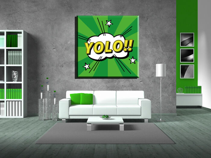 LEINWAND BILD BILDER XXL POP ART YOLO COMIC MANGA GRAFFITI ABSTRAKT - 130x130