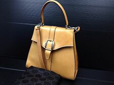 Authentic GUCCI Leather Shoulder Hand Bag Brown Vintage 6L070160s