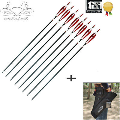 32 inch Fiberglass Shaft Arrows 12X Hunting Target Practice Arrow with Quiver