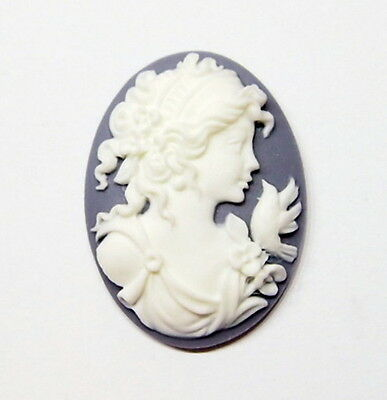 4 of 40x30 mm White over Gray Blue Victorian Grecian Muse with Bird Woman Cameos