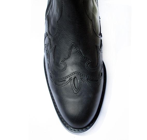 Para Hombre Botines Doble Negro Cremallera De Genuino Cuero Negro Doble Forrados Cowboy Western Botas 50db2f