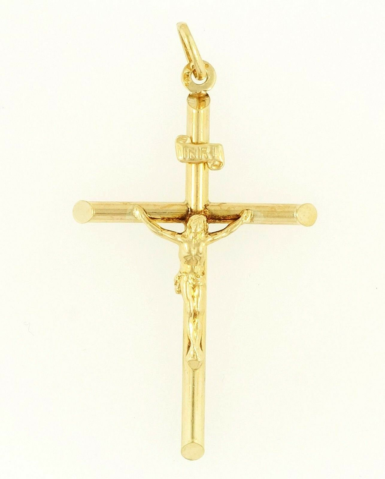 9Carat Yellow gold Hollow 3D Crucifix Cross Pendant (32x48mm)