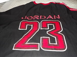 quality design 51eaf a1107 Details about MICHAEL JORDAN BASEBALL JERSEY #23 BLACK RED WHITE HEAVY  BUTTON DOWN SZ LARGE