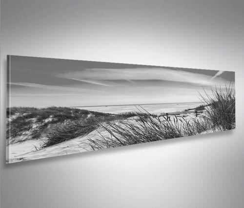 Nordseestrand Schwarz//Weiss Panorama Format Bild auf Leinwand Wandbilder