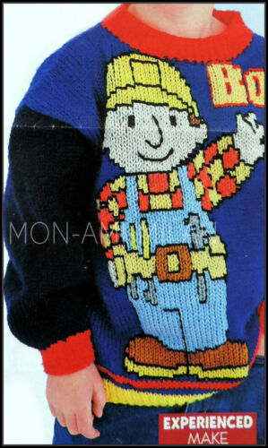 8 10 año 6 Tejer patrón Bob el constructor Suéter Jumper CHILDS CHICOS CHICAS 4