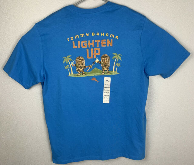 Tommy Bahama Lighten Up Tiki Blue Short Sleeve Shirt Mens M Medium NWT