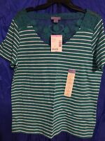 Laura Scott Green And White Striped With Lace Large Women's T-shirt