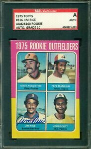 Jim Rice 1975 Topps Rookie Autograph ** SGC Authentic ** HOF - Boston Red Sox