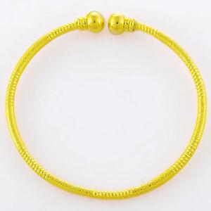 Bangle-Beads-Women-24k-Yellow-Gold-Filled-Bracelet-Wedding-Jewelry-Open-Style