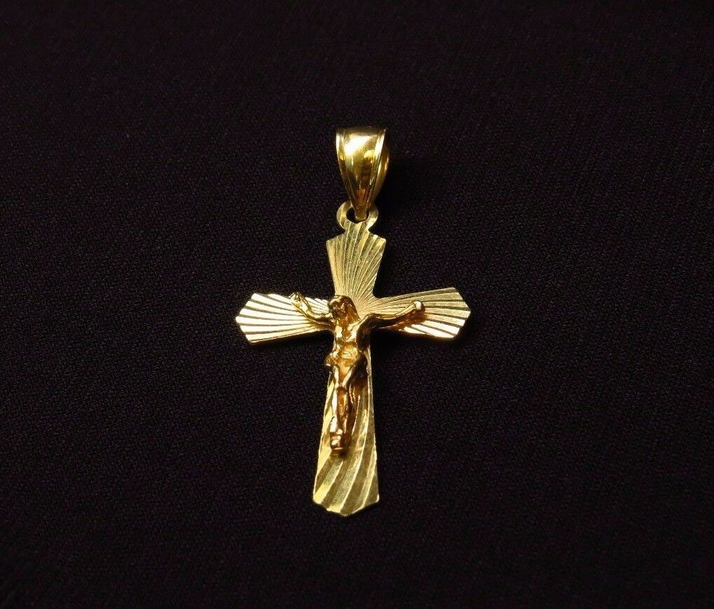 Real Yellow gold 14KT Movable Religious Cross Crucifix Jesus Pendant Charm I-440