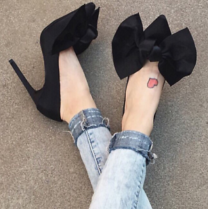 Womens-Pointy-Toe-Big-Bow-Pointed-Toe-Shoes-Suede-Stiletto-High-Heel-Party-Pumps