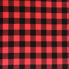 "Red And Black Buffalo Plaid Cotton Spandex Jersey Knit Fabric 1"" Check"