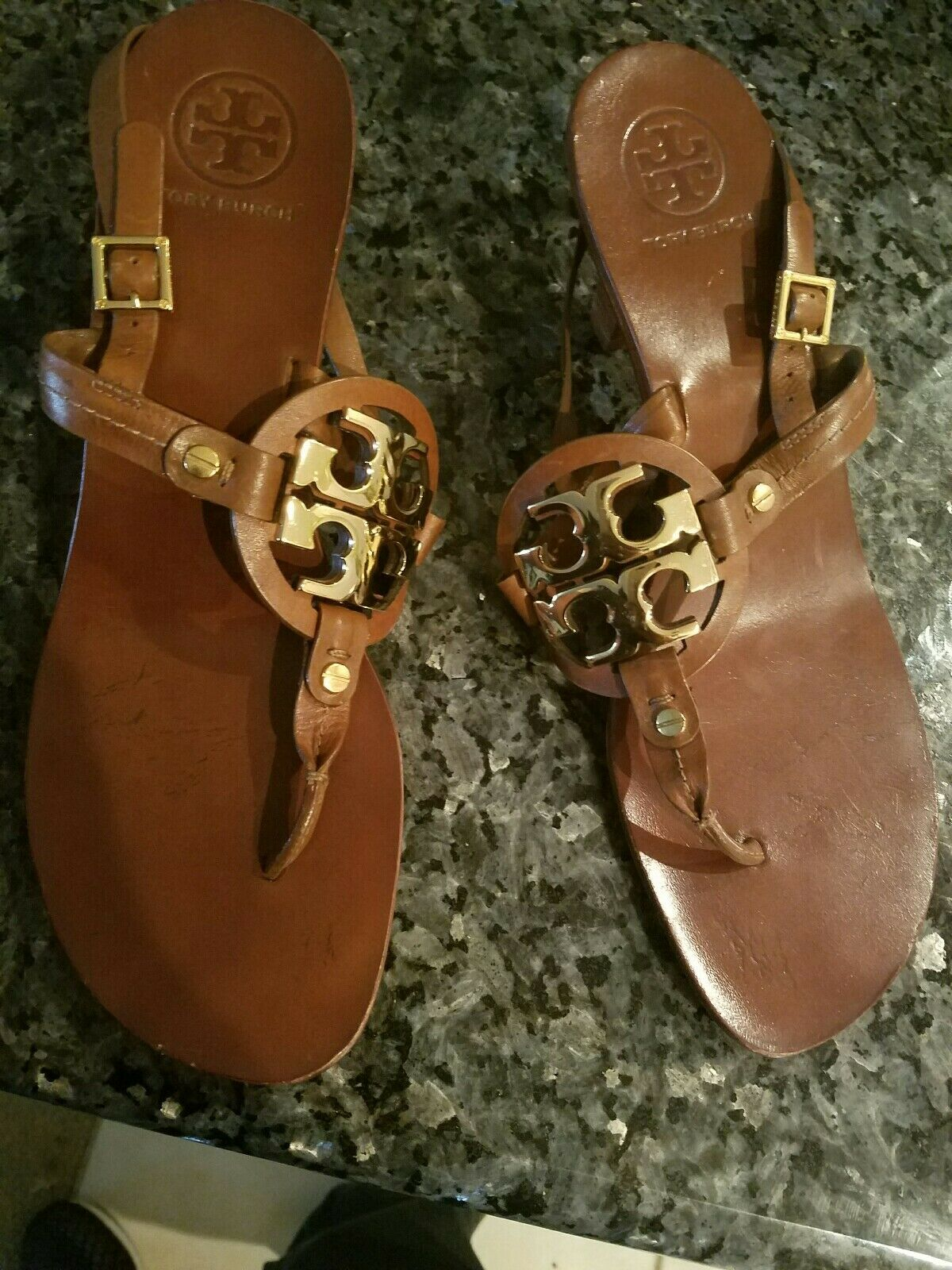 Tory Burch Miller Sandal Size 10.5 brown leather gold accent