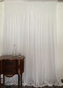 French Country Shabby Chic Curtains Smocked Top Rod Pocket White 2x110x240cmLong