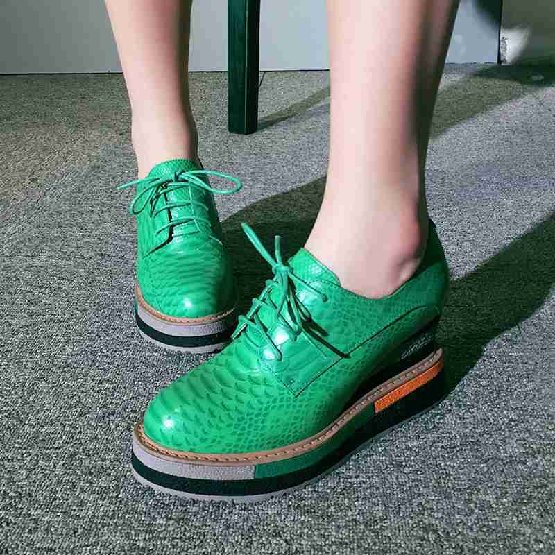 Leather Womens Lace Up Platform High Wedge Heels Creepers Casual Oxfords shoes