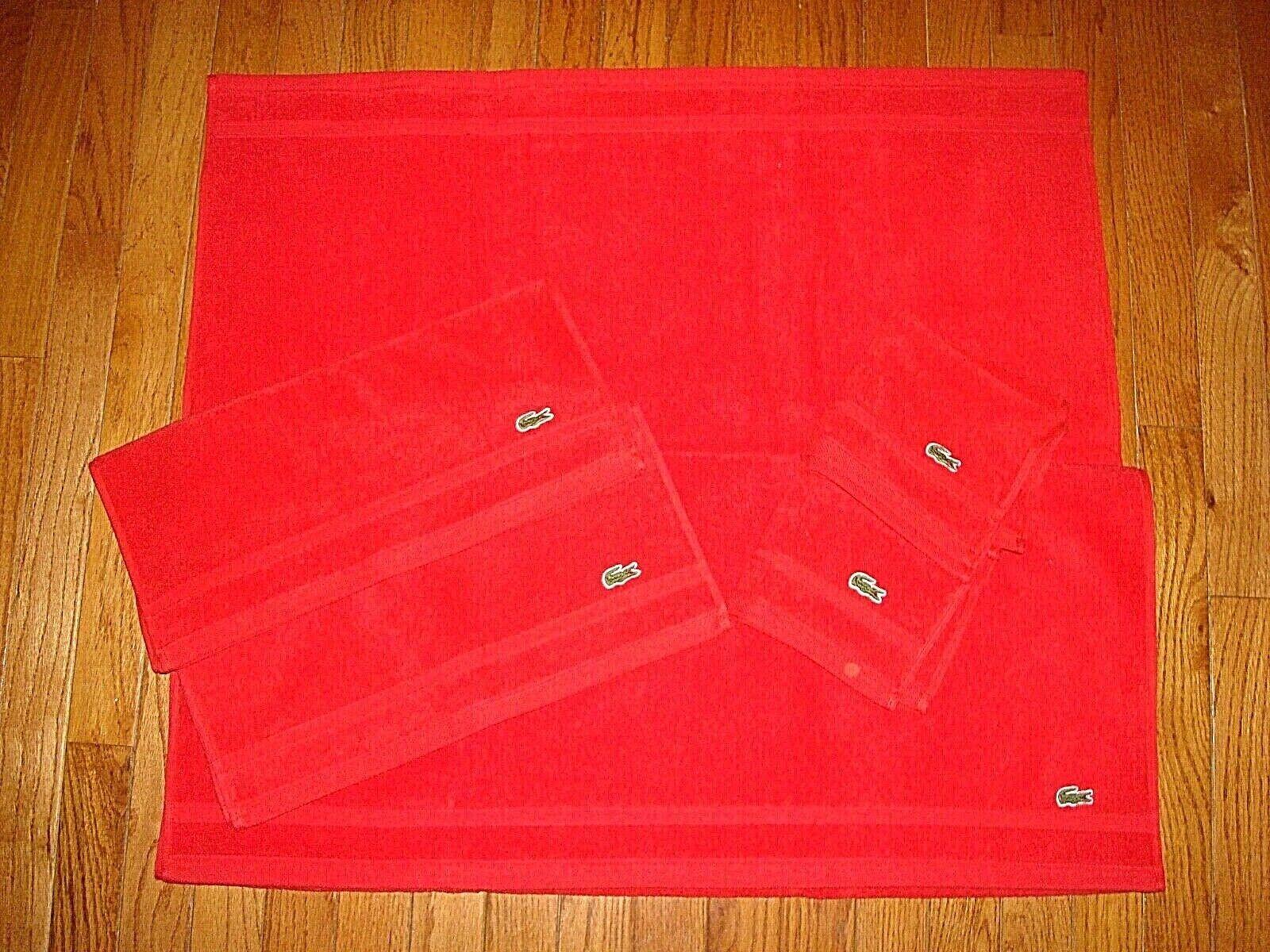 Lacoste rojo 1 Toalla de Baño, 2 Toallas de Mano & 1 Lavado Toalla Juego