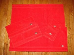 LACOSTE-RED-1-BATH-TOWEL-2-HAND-TOWELS-amp-1-WASH-TOWEL-SET