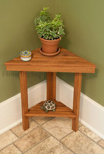 Teak Shower Triangle Bench Made in the USA Certified Plantation Inddor/Outdoor | eBay