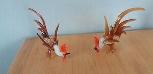Exquisite-Pair-Cockerels-Murano-Pirelli-Style-Glass-Roosters-Collectable