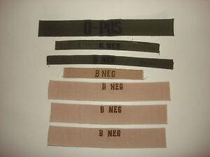 Misto-Lotto-di-7-US-Militare-Sangue-Tipo-Identificazione-Toppe-Non-Usato