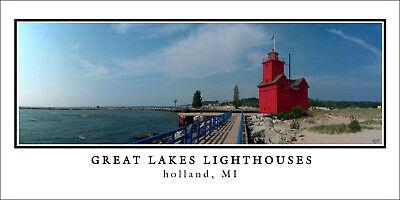 Poster Panorama Big Red Holland Lighthouse Panoramic Fine Art Print 10x20 Photo