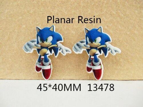 2 X 40mm Corte Laser Sonic el Erizo Piso Nuevo Resina Diademas cabello arcos Crafts