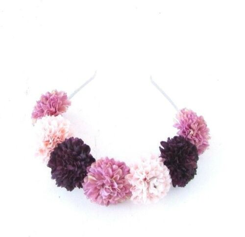 Dark Purple Blush Pink Mauve Flower Headband Festival Hair Crown Boho Vtg 3780