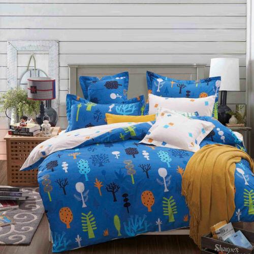 Cream Colour Duvet Cover Set Bedding Set 100/% Cotton 400TC Reversible Blue
