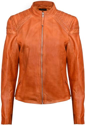 cuero retro naranja acolchado Vintage Mujeres Brando chaqueta motera xgF1CqR