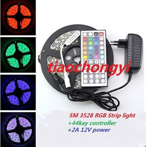 5M-3528-RGB-300Led-SMD-Flexible-Light-Strip-IP20-44key-IR-EU-US-12V-2A-Power