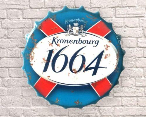Kronenbourg Lager Beer Dad Wall Display Sign Metal Bottle Top 30//40cm Mancave