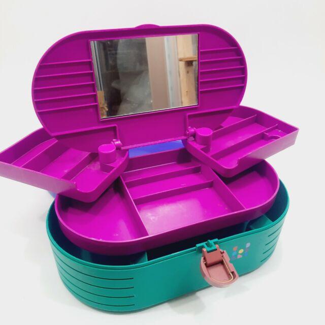Vintage CABOODLES 3-Tier Large Purple Teal Makeup Travel Train Case Mirror 2640