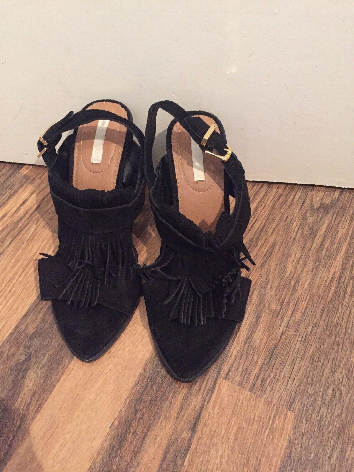 Gorgeous Black Suede Tassel Sandals H & M Size 5 Excellent Condition