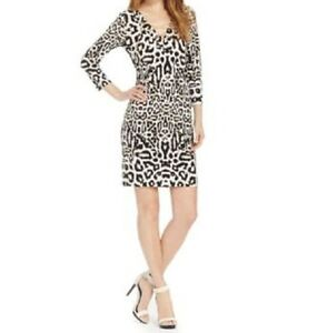 Image Is Loading Calvin Klein Dress Sz 10 Khaki Multi Animal