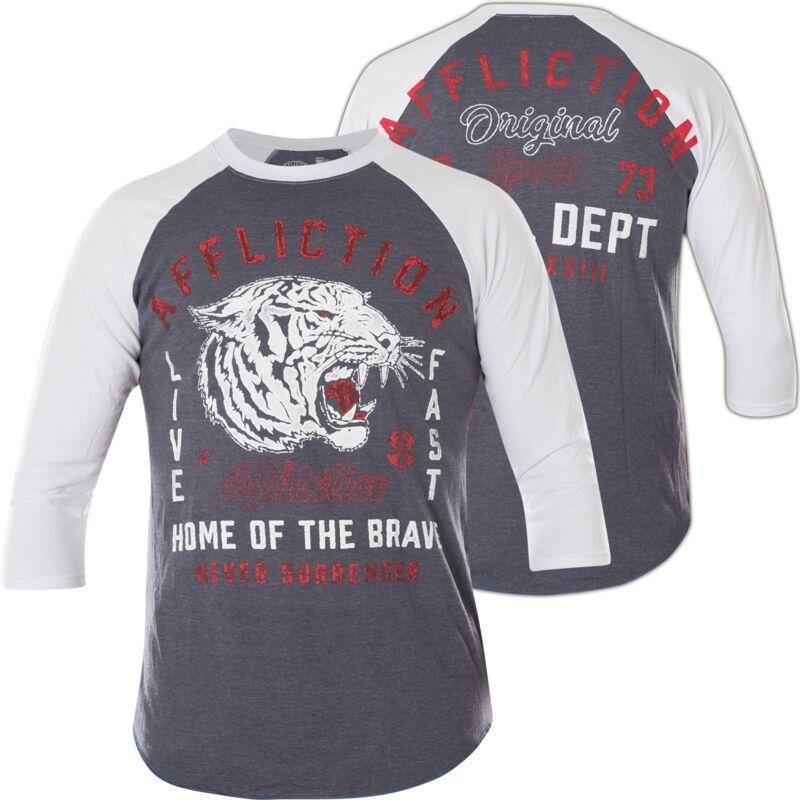 Affliction Pullover Sport Battalion Grau/weiß T-shirts