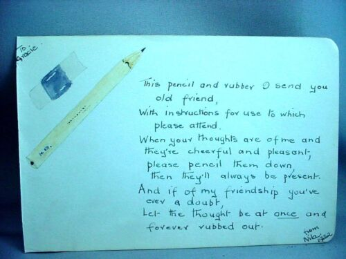 """Folk Art from Autograph Book Poem 1932 """"Pencil and Rubber"""" with Drawing"""