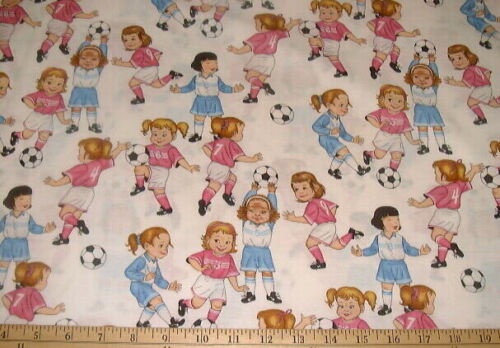 ALEXANDER HENRY Fabric Girls on White BTHY SOCCER KIDS