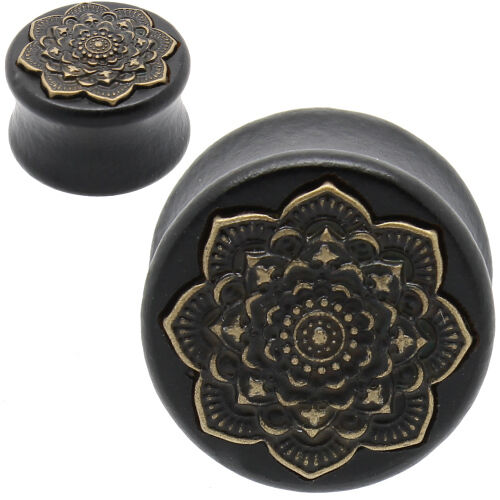 PAIR-BLACK ARENG WOOD WITH BRASS LOTUS FLOWER-FLESH TUNNELS-Ear Gauges-Ear Plugs