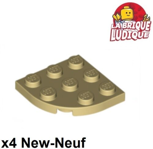Lego 4x Plate Round plaque ronde corner 3x3 beige//tan 30357 NEUF