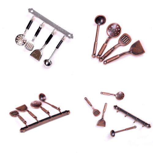 5 un 1:12 muñeca casa miniatura de metal Conjunto de Cocina Utensilios de cocina de casa de muñecas Modelo Pop.