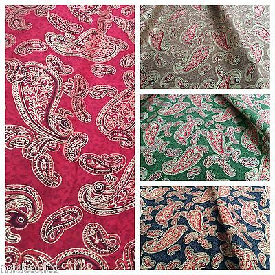 """Paisley Print with gold foil 100% Cotton Fabric Craft Dressmaking  44"""" M317 Mtex"""