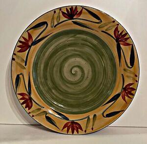 "Pier 1 Elizabeth 11-1/2"" Hand Painted Stoneware Dinner Plates Set 4 Dishes"