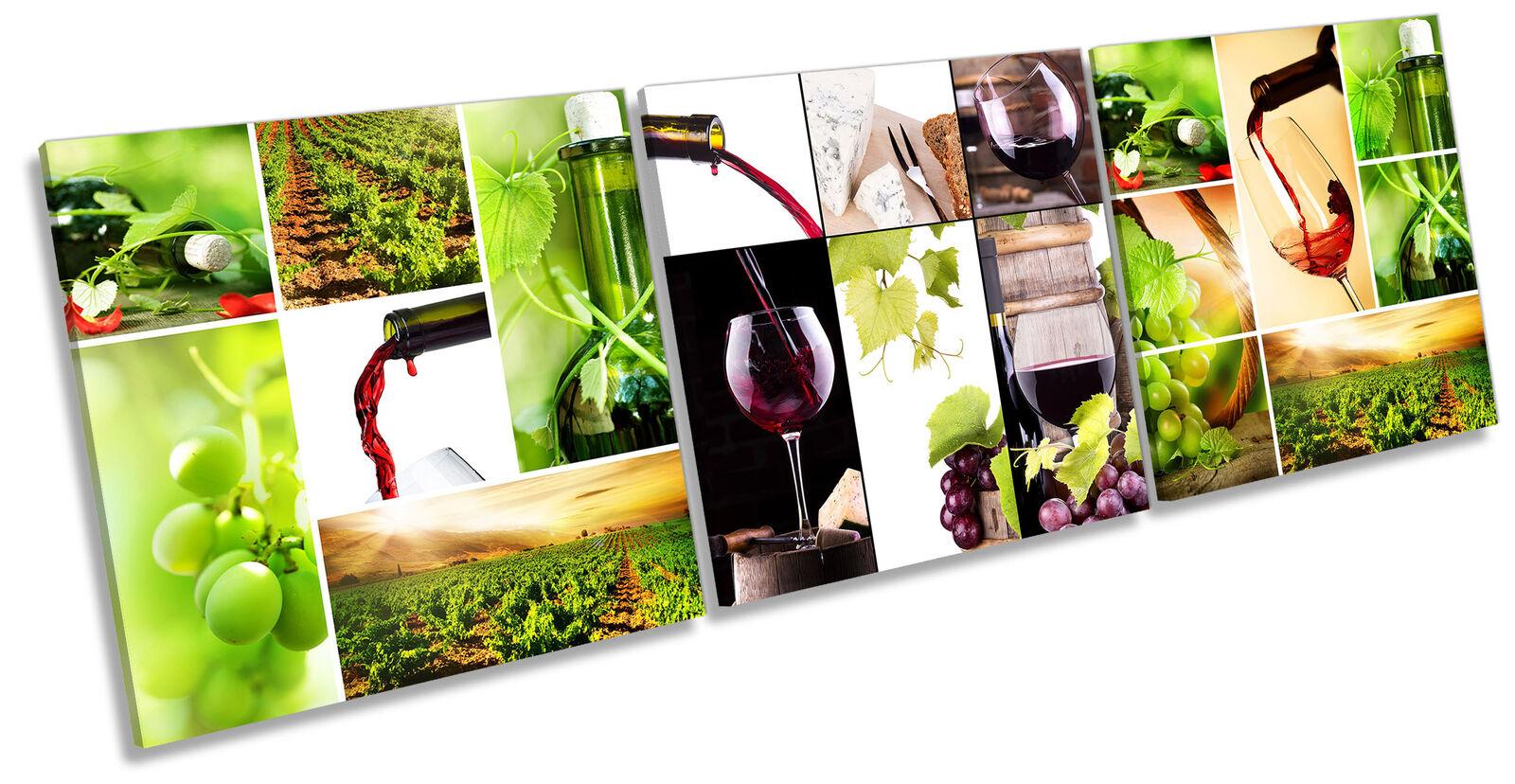 Wine Vineyard Collage Set of 3 CANVAS Wand Kunst Drucken Treble Grün