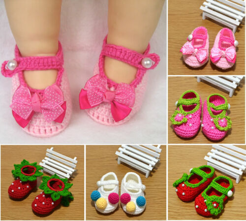 Newborn Baby Girl Casual Crochet Knitted Socks First Crib Shoes Prewalker 3-6-9M
